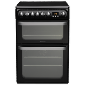 Hotpoint HUE61KS 60cm Electric Double Oven Cooker Black