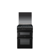 Indesit ID60G2K60cm Double Oven Gas Cooker Black